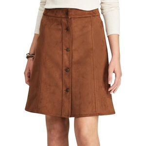 Chaps | Brown Faux Suede Button Front Skirt 4